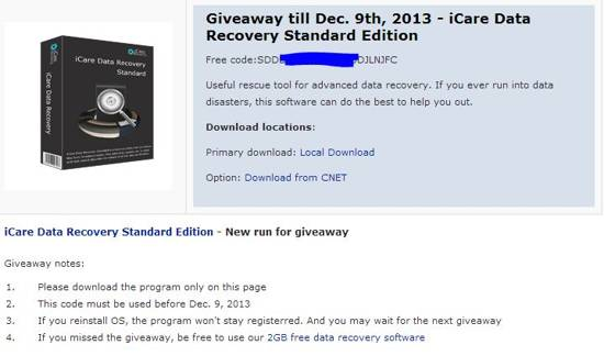 icare data recovery giveaway december 2013