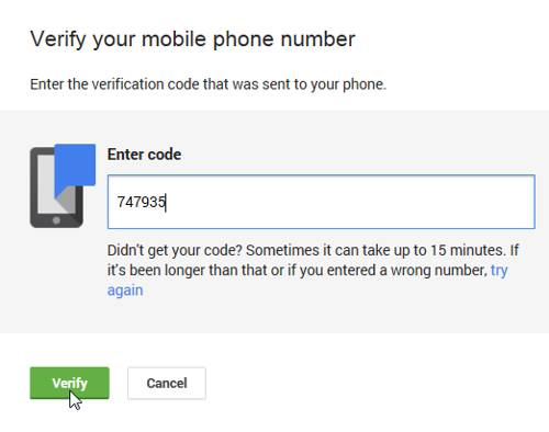 enter code to verify mobile phone for custom url google+
