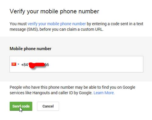 verify mobile phone for custom url google+ 2