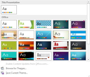 Design Tab MS powerpoint 2013