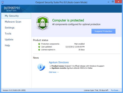 Outpost Security Suite Pro v9.0 screenshot
