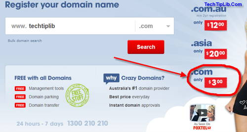 Big deal from Crazy Domain up to $3 for .COM domain
