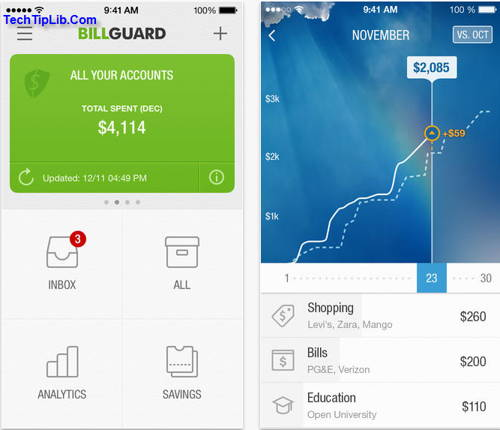 BillGuard is a free app for iOS to manage personal finance