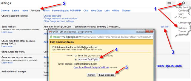 How to Change sending name in Google mail