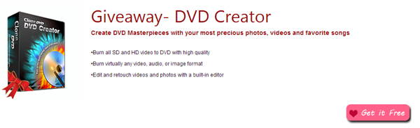Valentine's Day 2014 you can get FREE DVD creator from CloneDVD