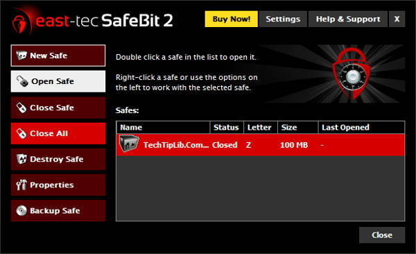 Screenshot of East-Tec SafeBit 2 - Encrypt & Hide any Folder
