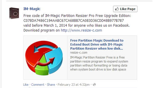 The guide to Get FREE license key of IM-Magic Partition Resizer Pro free upgrade-2-2014