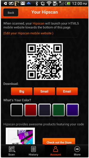 Hipscan – a FREE QR Code Generator app for Android 2