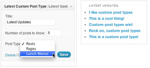 The widget configuration options and showing of Latest Custom Post Type Updates plugin