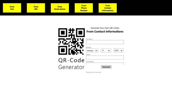 Qr Code Generator is a FREE app, that allow you to generate your own QR Codes with Windows 8 devices