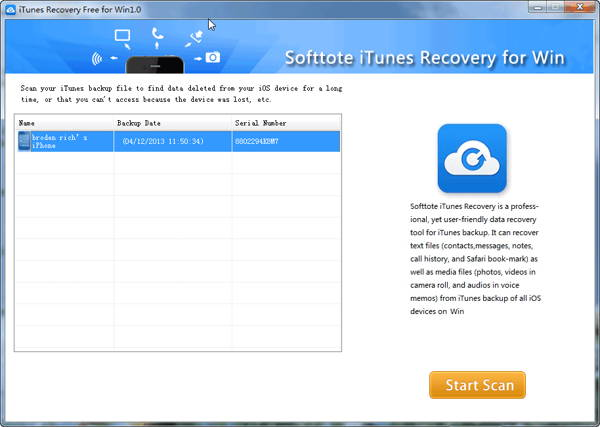 Step 1 - Guide to use Softtote iTunes Recovery Free for Windows