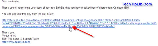Step 2 - to get free license key of east-tec SafeBit2-2