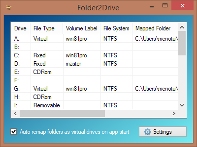 Folder2drive is a free virtual drive creator, which creates virtual drives from folders.