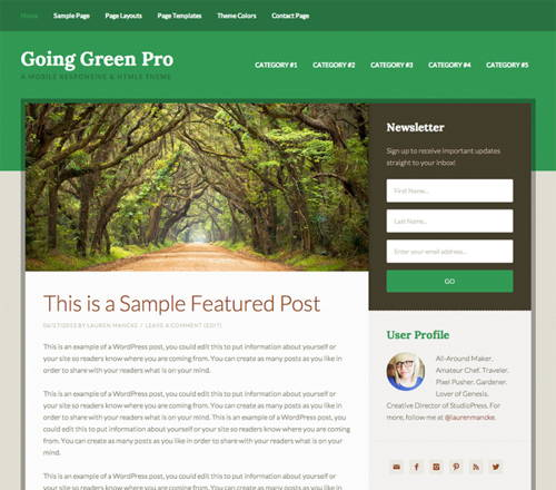 Download FREE goinggreen-studiopress wordpress theme
