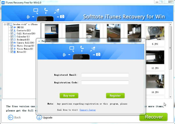 Step 4 - How to use Softtote iTunes Recovery Free for Windows
