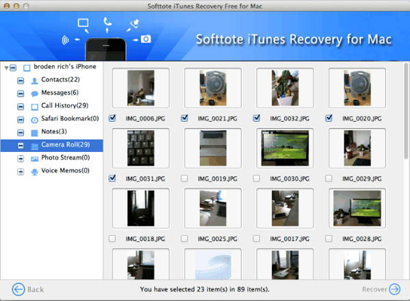 Step 3 - specify-files-to-preview-and-recover - How to use Softtote iTunes Recovery Free for Mac