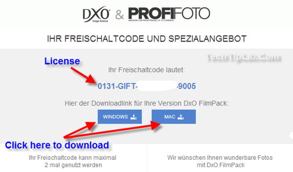 Step 2 - the guide to Get free license key of DxO FilmPack 3 Essential