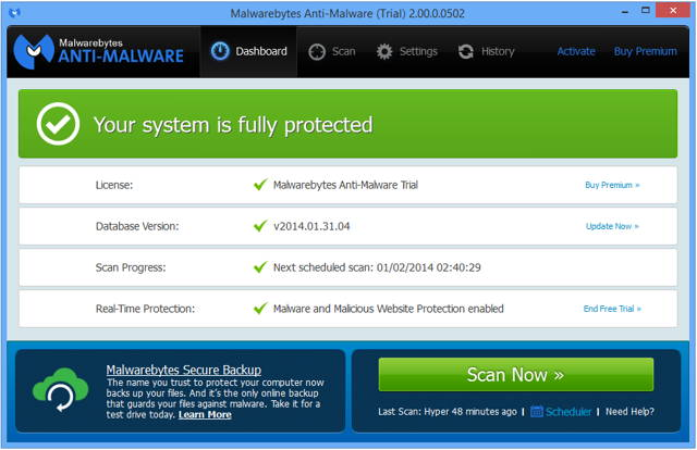 New user inter face of Malwarebytes Anti Malware v2