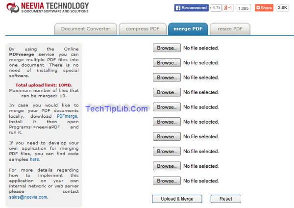 Neevia merge PDF is a free Online pdf tool