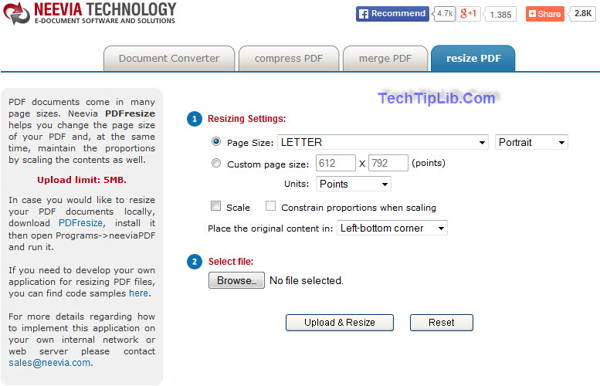 Neevia resize PDF is a free Online pdf tool