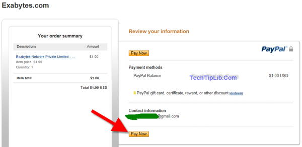 Pay $1 for hosting package through Paypal