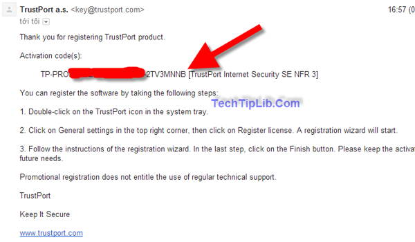 check email to get 3 months license key of TrustPort Internet Security 2014