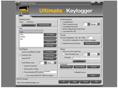 Ultimate Keylogger - monitors all activities on computer systems including applications, keyboard, passwords, clipboard, chat, email, and visited websites.