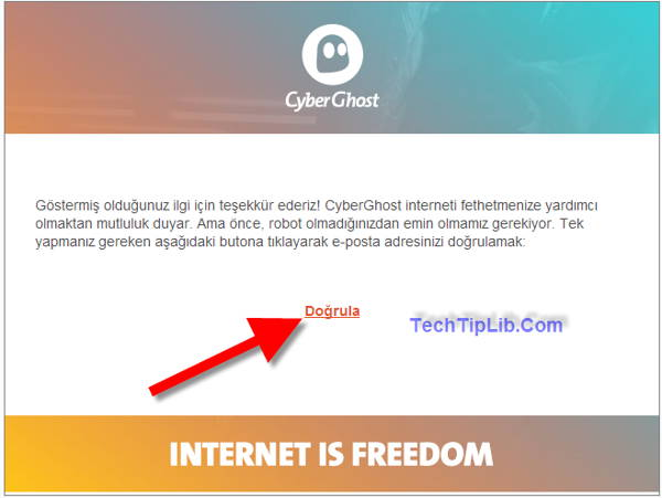 click to confirm email CyberGhost VPN 1 year Turkey