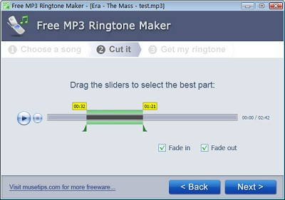 Step 2 to make ringtone with Free MP3 Ringtone Maker