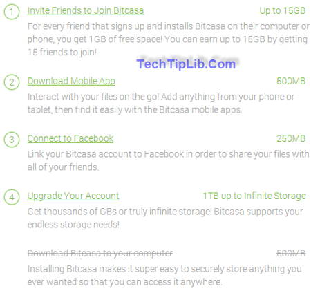 Invite your friends to get free up to 20gb cloud storage of Bitcasa
