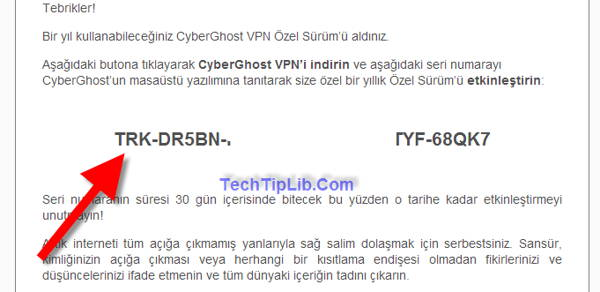 Check mail to get the license key of CyberGhost VPN 1 year Turkey