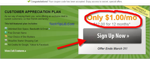 step 1: sign up the web hosting package of the deal web hosting for $1/month from iPage