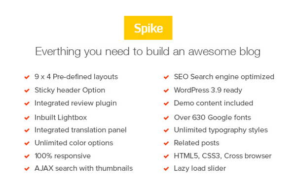 the features of Spike wordpress theme