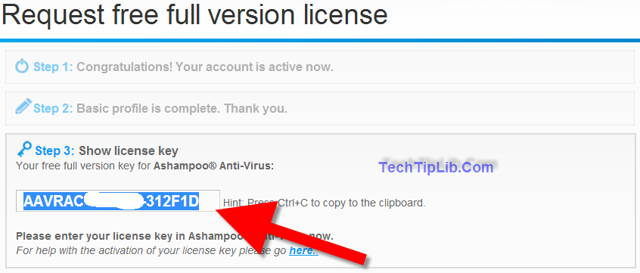 How to get free 6 months of Ashampoo Anti-Virus -3-2014 step 3