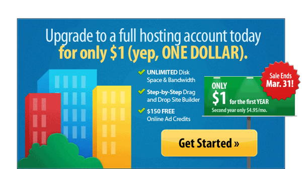 special offer for current web hosting account - $1 for upgrade to full account
