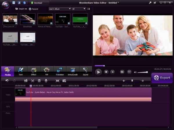 the screenshot of Wondershare Video Editor