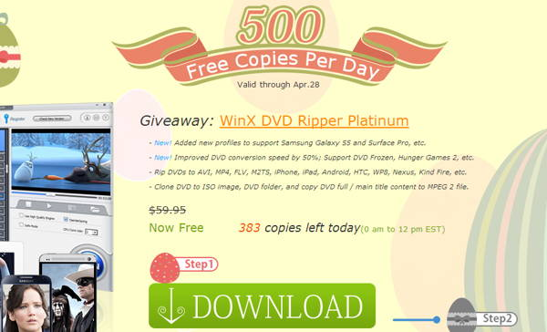 WinX DVD Ripper Platinum is a DVD ripper tool which can rip DVD to AVI, MP4, MPEG, H.264, WMV, MOV, 3GP and FLV