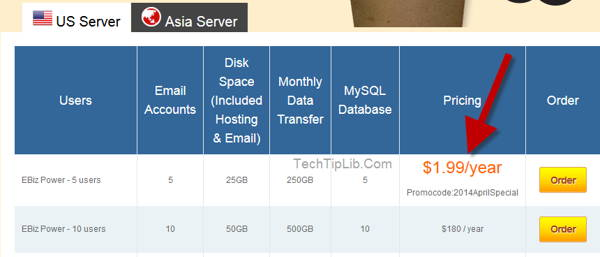 Off 98% Web Hosting of Exabytes for April, 2014