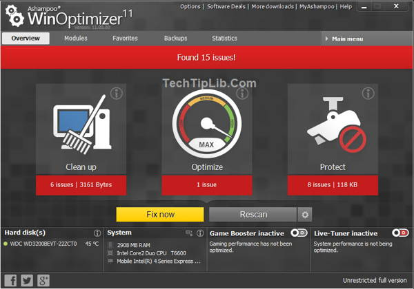 The new Ashampoo WinOptimizer 11 overview