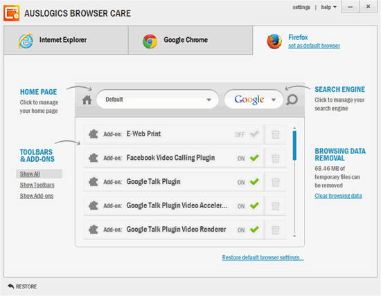 Keep all your browsers clean with Auslogics Browser Care 2