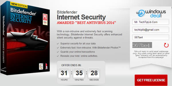 Exclusive giveaway of Bitdefender Internet Security 2014