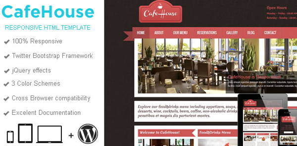CafeHouse Responsive HTML Template Highlights