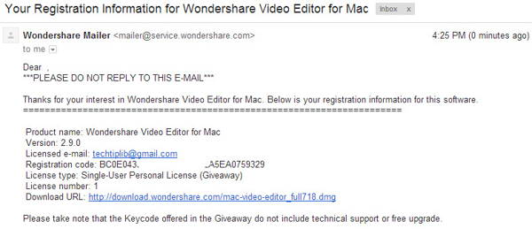 check email to get license key of Wondershare Video Editor for Mac