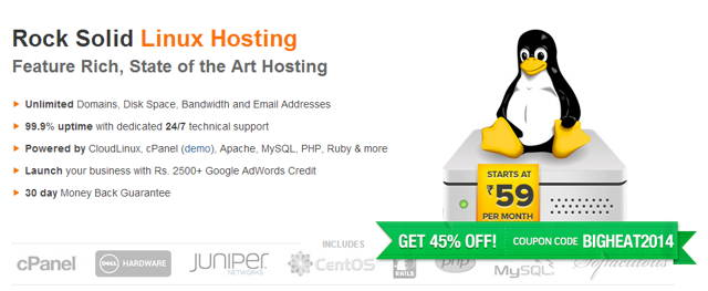 Off 45% Web Hosting From BigRock