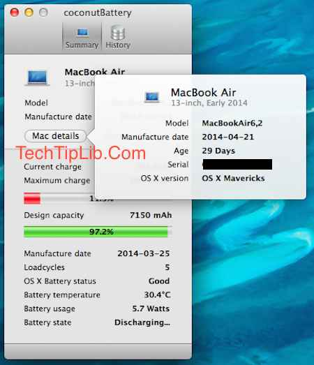2-Check your Macbook battery with CoconutBattery 3