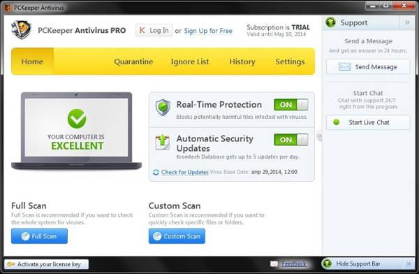 The screenshot of PCKeeper Antivirus Pro