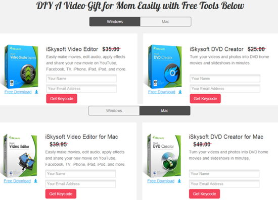 Get FREE iSkysoft Video Editor + DVD Creator (Win & Mac)