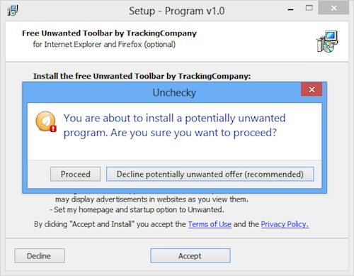 Unchecky - Removes ticks or warn about the unwanted adware and toolbars