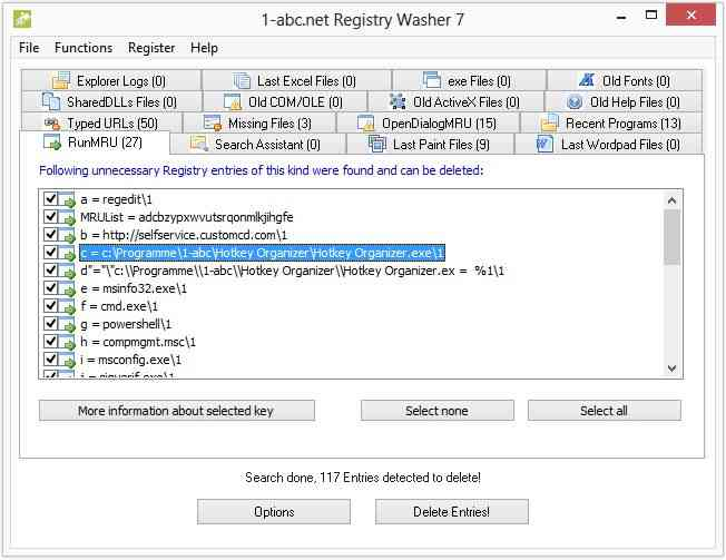 screenshot of 1-abc.net Registry Washer 7.00