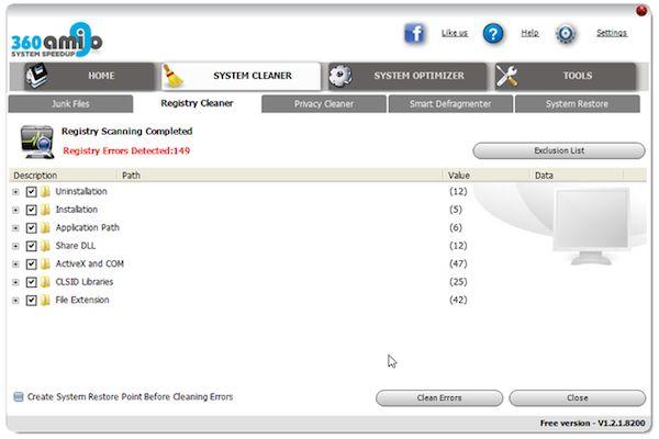 360Amigo System Speedup Free-free registry Cleaner